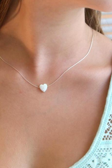 heart necklace, silver necklace, opal heart necklace, heart necklace, opal necklace, glistening opal, gold necklace -009