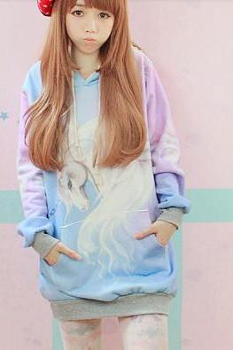 Women Hooded Sweater,New Fall Winter 2013/14 Harajuku Hooded Unicorn Sweater Jumper Clothing, Christmas Sweaters