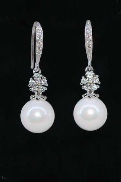 Wedding, Bridesmaid Earrings, Bridal Jewelry - Cubic Zirconia Detailed Sterling Silver Earring Hook with Round White Pearl Earrings (E480)