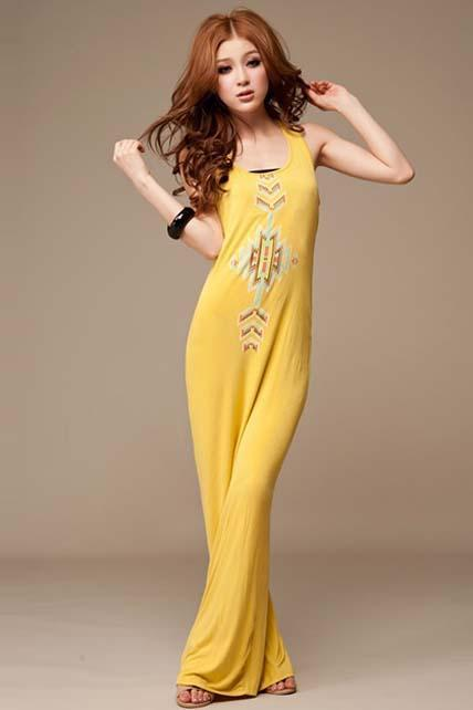 Shiny Pattern Print Scoop Neck Cotton Dress - Yellow