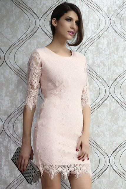 Sexy Round Neck Light Pink Three Quarter Sleeve Dress