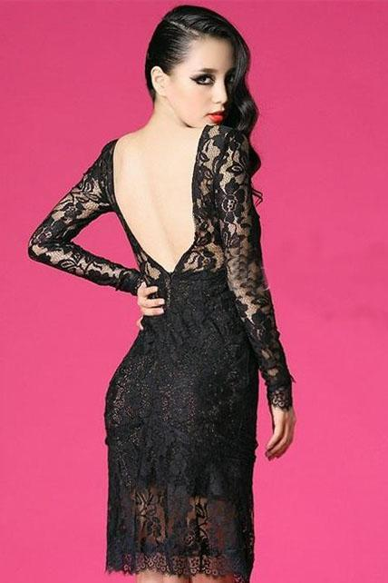 Amazing Open Back Long Sleeve Black Lace Dress for Party