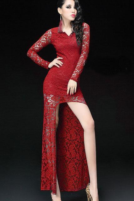 Incredible High Low Hem Lace V Neck Dress - Red