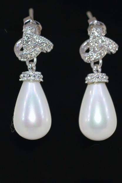 Cubic Zirconia Detailed Knot Earring with White Briolette Pearl - Wedding Earrings, Bridal Jewelry, Bridesmaid Gift (E488)