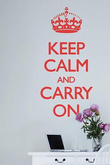 Wall Decal Quotes - Keep Calm and Carry On Wall Decal Sticker Quote Vinyl Wall Room Decal StickerVinyl wall/quotes