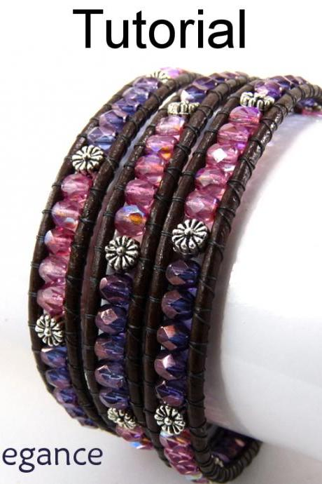 Tutorial Pattern Jewelry Making Bracelet - Beaded Leather Wrap - Simple Bead Patterns - Earthy Elegance #4762