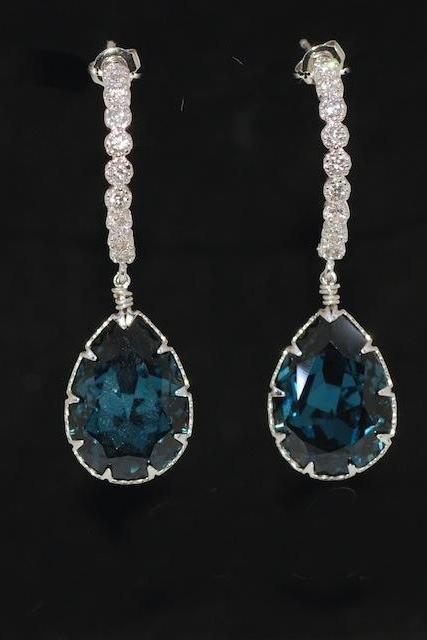 Cubic Zirconia Detailed C-Shape Earring with Swarovski Montana Blue Teardrop Crystal - Wedding Jewelry, Bridal Earrings (E461)