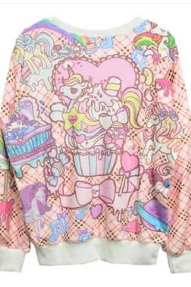 2014 Harajuku Unicorn And Cupcakes Sweater