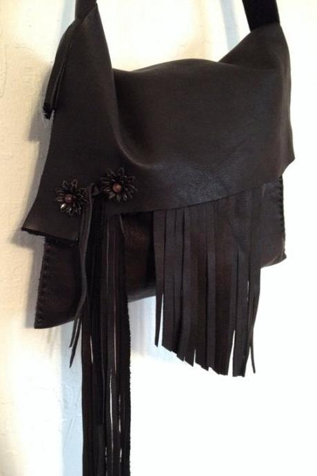 Fringed Black Leather Brass Accented Handbag