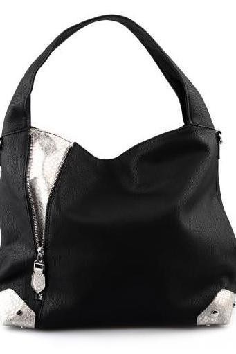 Black Handbag. Black Tote Handbag. Black Hobo Bag. Black Leather Tote. Large Handbag. Jet. Black.