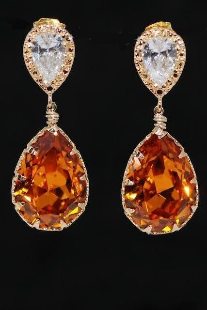Wedding Earrings, Bridal Jewelry - Gold Plated Cubic Zirconia Teardrop Earring with Swarovski Topaz Teardrop Crystal (E495)