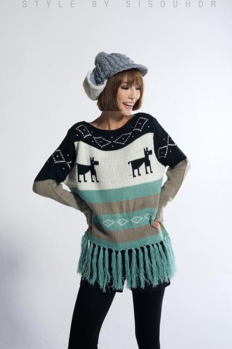 Hot Women's Winter Crew Neck Christmas Xmas Tassel Deer Knitting Sweater CL4801