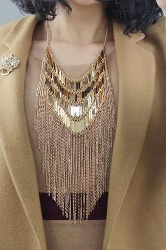 Gold Cascading Fringe Chain Statement Necklace