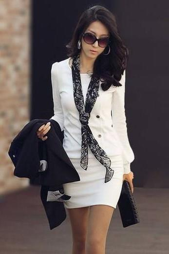 White Long Sleeve Mini Dress