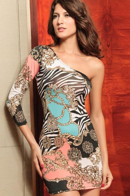 Retro Long Sleeve Patterned Sheath Dress for Woman