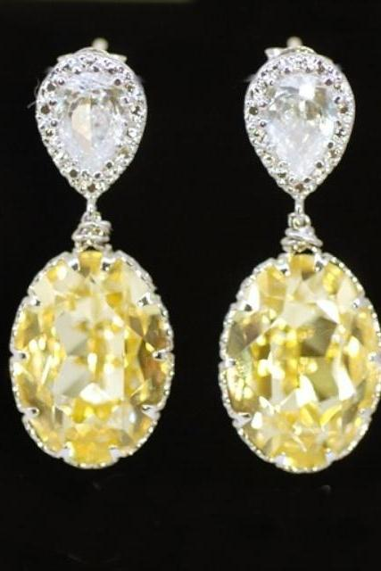 Wedding Earrings, Bridesmaid Earrings, Bridal Jewelry - Cubic Zirconia Teardrop and Swarovski Oval Jonquil Crystal Earrings (E221)