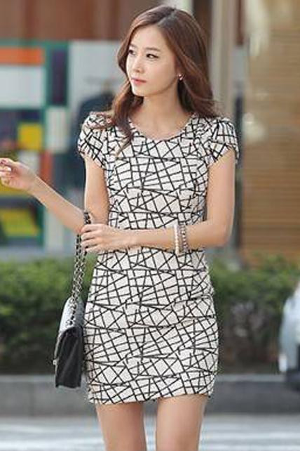 Star Style Short Sleeve Pattern Print Bodycon Dress