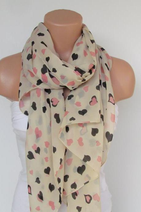 Oversize Heart Pattern Cream Scarf -Fall Fashion Scarf-Headband-Beach Pareo- Infinity Scarf- Long Scarf-New Season