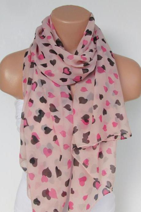 Oversize Heart Pattern Salmon Pink Scarf -Fall Fashion Scarf-Headband-Beach Pareo- Infinity Scarf- Long Scarf-New Season