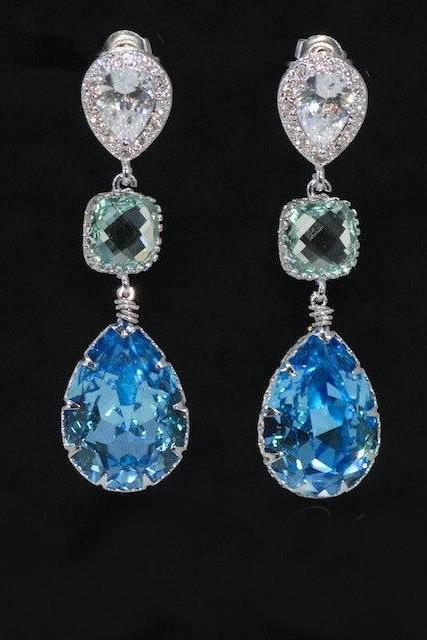 Cubic Zirconia Teardrop Earring, Square Erinite Glass Quartz, Swarovski Aquamarine Teardrop Crystal (E551)