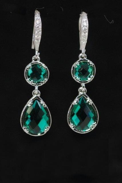 Cubic Zirconia Detailed Earring Hook, Round Emerald Green, Emerald Green Teardrop Glass Quartz - Wedding Earrings, Bridal Jewelry (E548)