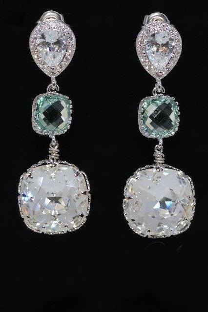 Cubic Zirconia Teardrop Earrings with Erinite Square Glass Quartz, Swarovski Square Clear Crystal (E552)