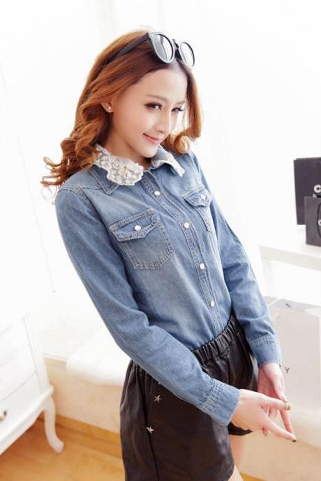 Cute Lace Detail Long Sleeve Denim Top