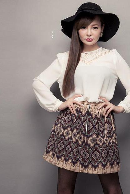 Sweet Style White Long Sleeve Blouse
