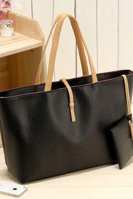 Two Pieces Black Hand Bag