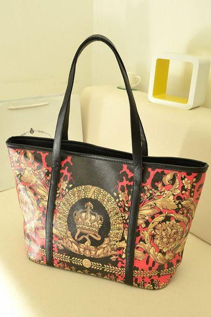 Vintage Crown Design Hand Bag