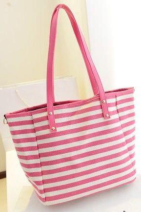 Cute Pink Stripes Hand Bag