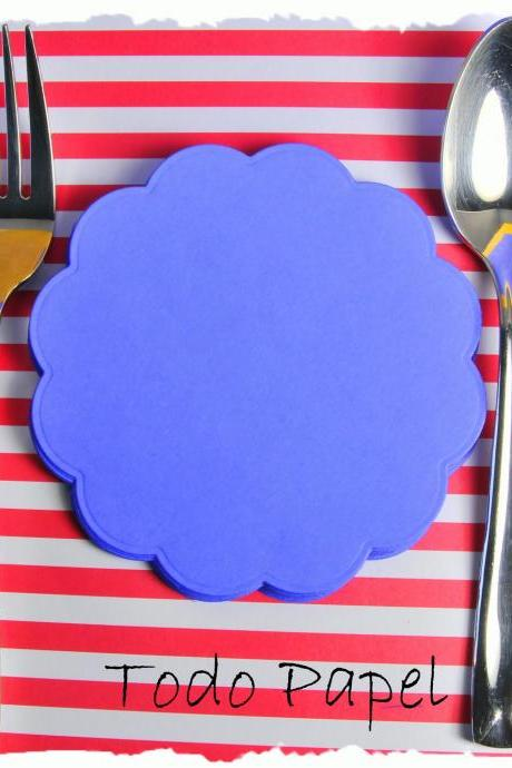 4 inch, 16 Scalloped die cut circles. Ideal for Banners. COBALT BLUE.