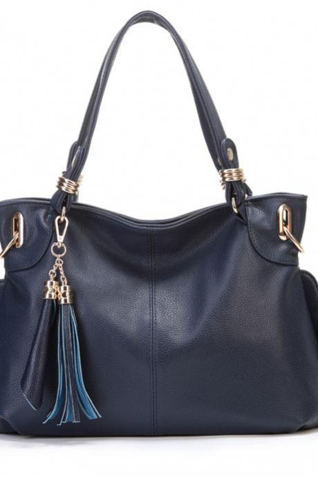 Tassel Design Blue Hand Bag