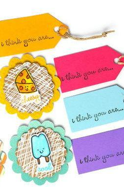Scrapbook embellishment and mini tags set . 8 pack . chili . cheese . ice pop . ice cream . cute . cool . sweet . cheesy . hot . kids