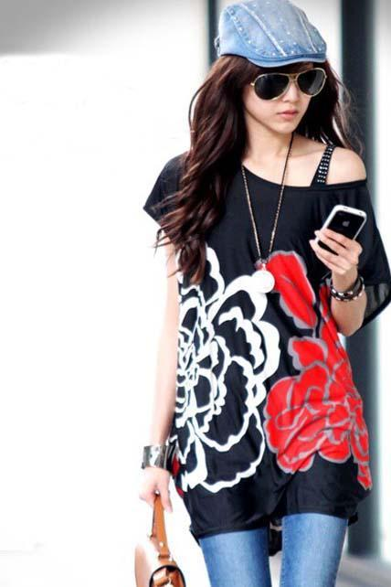Woman Big Rose Print Short Sleeve Long T Shirt