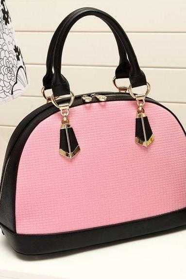 Cute Pink Color Block Hand Bag