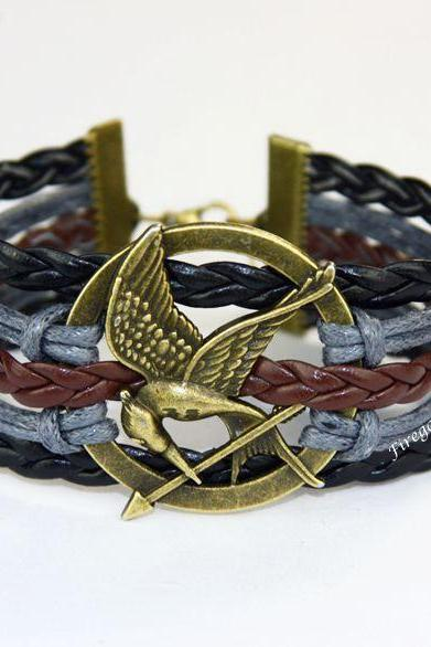 Mockingjay bracelet Hunger game charm wrap bracelet
