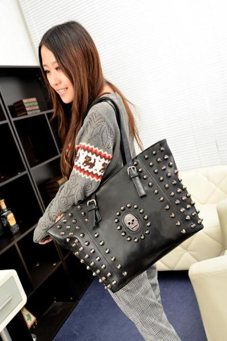 Rivets Skull Design Black Hand Bag