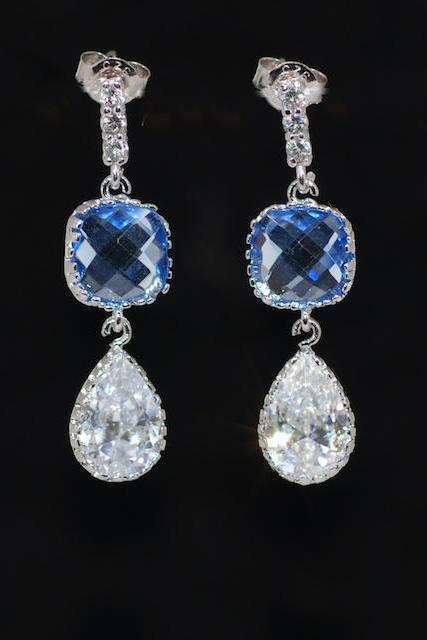 Light Sapphire Glass Quartz Cubic Zirconia Teardrop Earring -Wedding Earrings, Bridesmaid Earrings, Bridal Jewelry (E635)