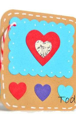 Heart mini card tag . turquoise . aqua . red . kraft paper . gift tags . deep ocean blue . hearts . embellishment . 6 set
