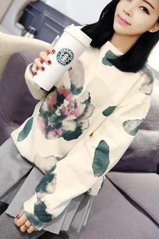 Retro Aquerello Floral Motif Long Sweatshirt