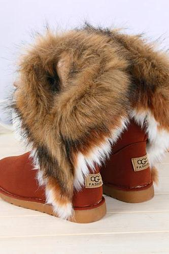 Faux Fur Chest Nut Colored Boots