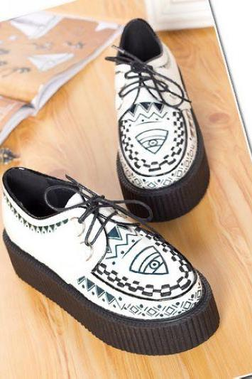 Aztec Design Platform Shoes
