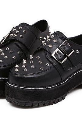 Black Rivets Platform Shoes
