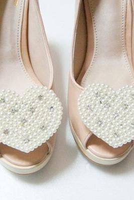 heart Pearl beads shoe clips,Set of 2