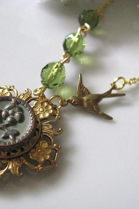 Engraved Matcha Flower With Olive Green Faceted Czech Fire Polished Glass Round Beads And Brass Swallow Necklace