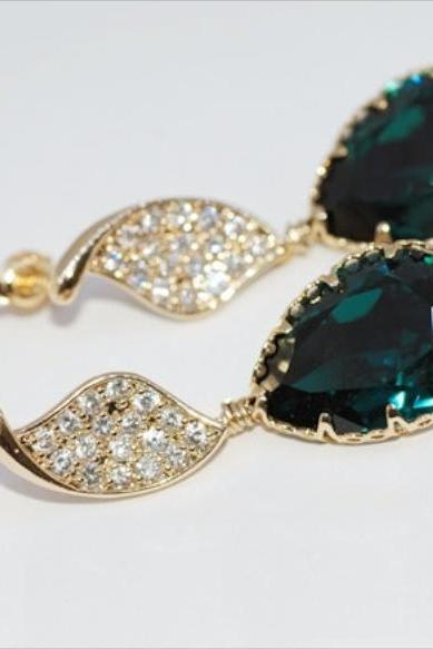 Gold Plated Cubic Zirconia Detailed Twisted Leaves Earring, Swarovski Emerald Green Teardrop - Wedding Jewelry, Bridal Earrings (E246)