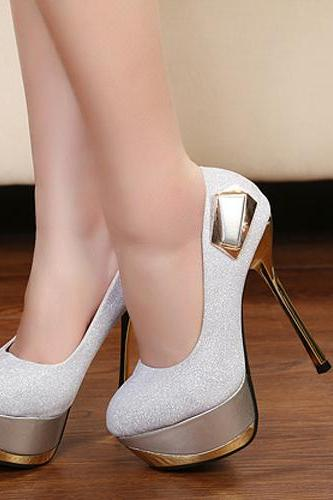 Sexy Metallic Silver High Heel SHoes
