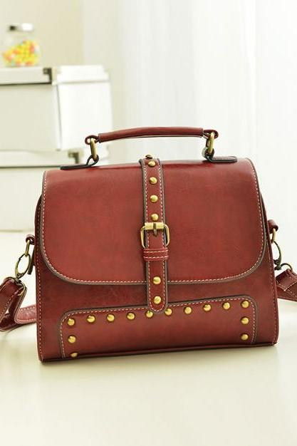 Vintage Design Wine Red Hand Bag