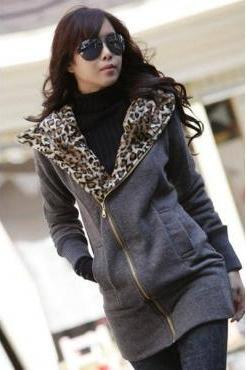 Leopard Print Grey Sweater